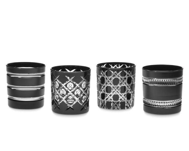 Mixed Cut Double Old-Fashioned Glasses in Onyx from William Sonoma