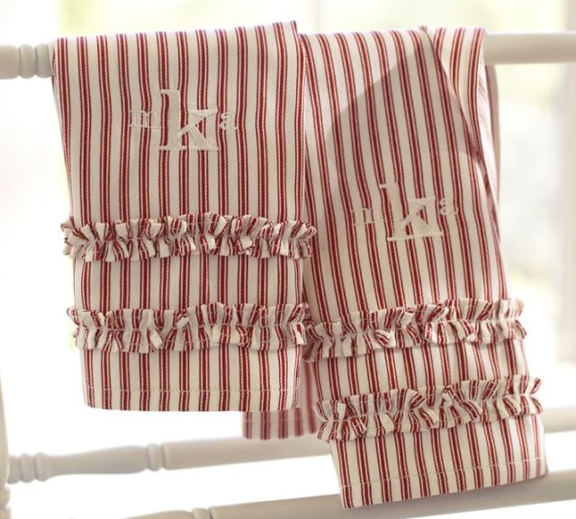 Ticking Stripe Ruffled Guest Towels at Pottery Barn